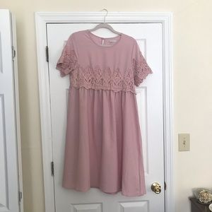 Mauve/pink dress with lace overlay